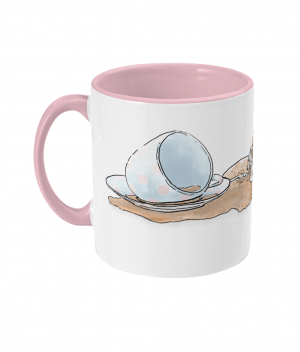 Caffeine Cat Two Tone Mug Antique Pink