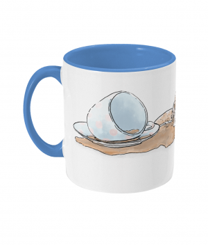 Caffeine Cat Two Tone Mug Cambridge Blue