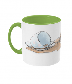 Caffeine Cat Two Tone Mug Light Green