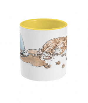 Caffeine Cat Two Tone Mug Yellow Front