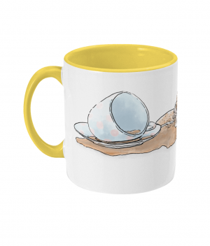 Caffeine Cat Two Tone Mug Yellow Left side