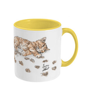 Caffeine Cat Two Tone Mug Yellow Right side