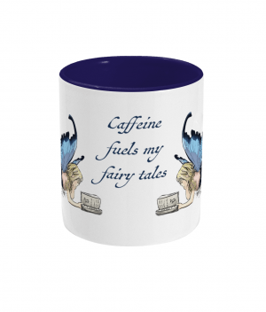 Caffeine Fuels Fairy Tales Two Tone Mug Cobalt Blue Front