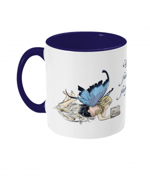 Caffeine Fuels Fairy Tales Two Tone Mug Cobalt Blue Left side