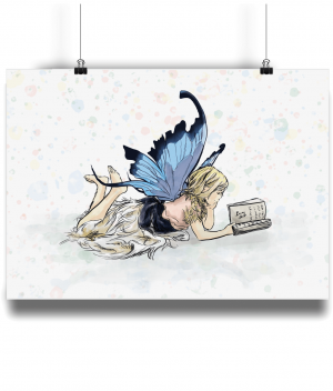 Fairy Reading A4 Bamboo Print