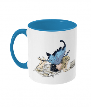Fairy Reading Two Tone Mug Light Blue Left side