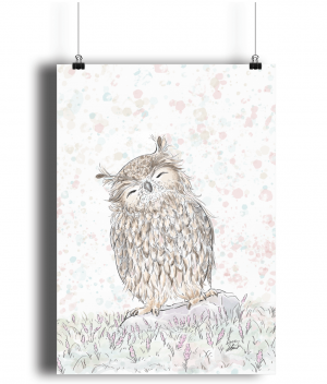 Happy Owl A4 Bamboo Print