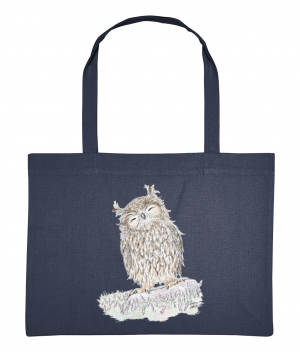 Happy Owl Shopping Bag Midnight Blue