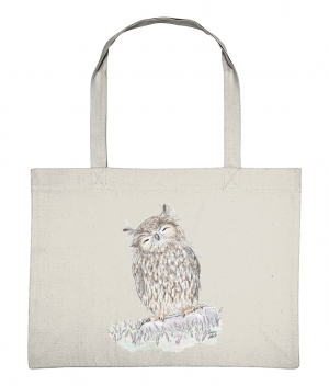 Happy Owl Shopping Bag Natural