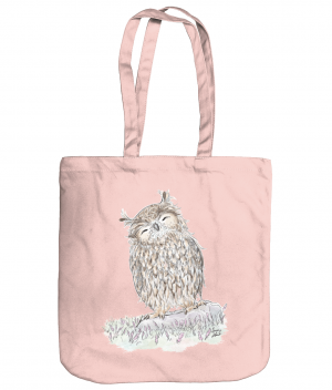 Happy Owl Tote Bag Pastel Pink