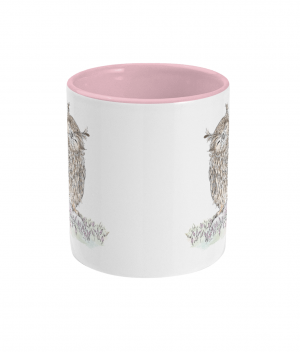 Happy Owl Two Tone Mug Antique Pink Front