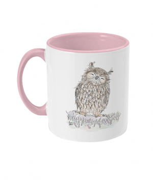 Happy Owl Two Tone Mug Antique Pink Left side