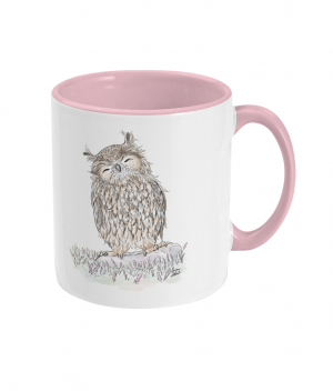 Happy Owl Two Tone Mug Antique Pink Right side