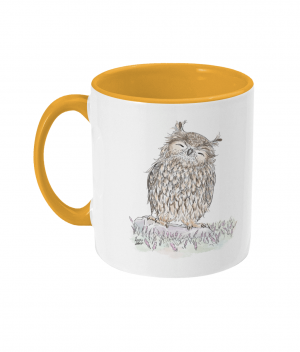 Happy Owl Two Tone Mug Sunshine Yellow