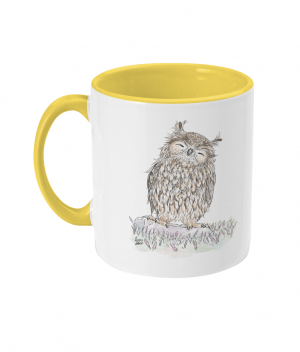 Happy Owl Two Tone Mug Yellow