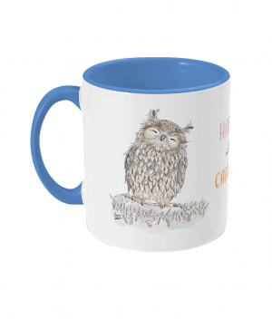 Happy With Caffeine Two Tone Mug Cambridge Blue Left side