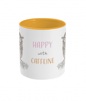 Happy With Caffeine Two Tone Mug Sunshine Yellow Front