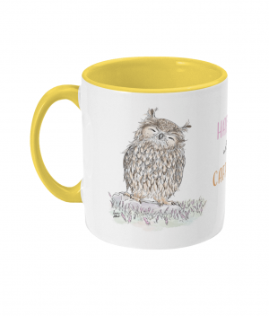 Happy With Caffeine Two Tone Mug Yellow Left side