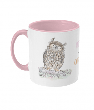 Happy with Caffeine Two Tone Mug Antique Pink Left side