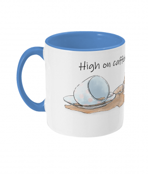 High on Caffeine and Biscuits Two Tone Mug Cambridge Blue