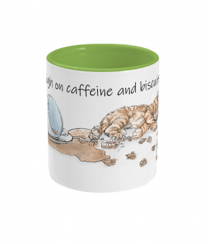 High on Caffeine and Biscuits Two Tone Mug Front