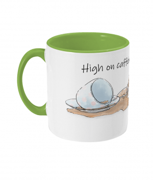 High on Caffeine and Biscuits Two Tone Mug Left side