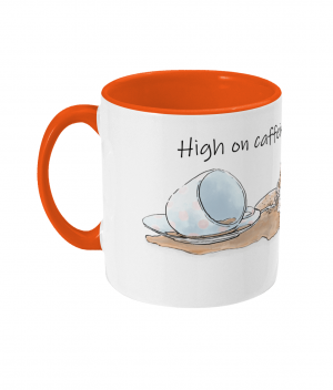 High on Caffeine and Biscuits Two Tone Mug Orange