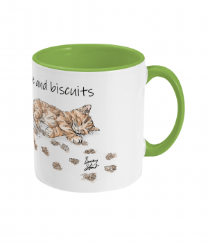 High on Caffeine and Biscuits Two Tone Mug Right side