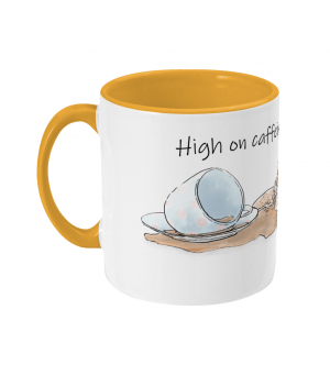 High on Caffeine and Biscuits Two Tone Mug Sunshine Yellow