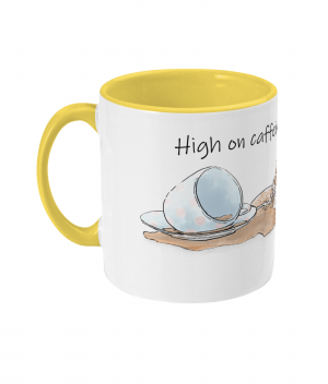 High on Caffeine and Biscuits Two Tone Mug Yellow