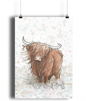 Highland Cow A4 Bamboo Print