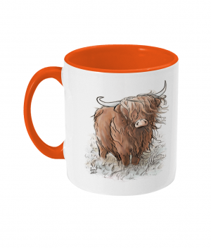 Highland Cow Two Tone Mug Orange Left side