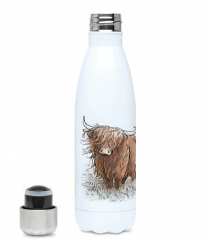 Highland Cow Water Bottle Left side