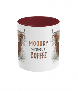 Moody Without Coffee Two Tone Mug Bordeaux Red Front