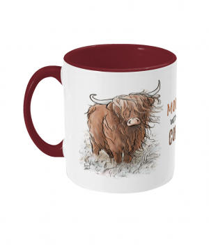 Moody Without Coffee Two Tone Mug Bordeaux Red Left side