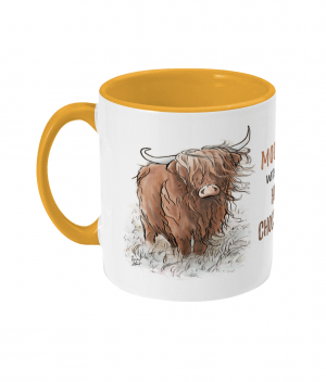Moody Without Hot Chocolate Two Tone Mug Sunshine Yellow Left side
