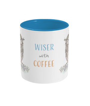 Wiser With Coffee Two Tone Mug Light Blue Front
