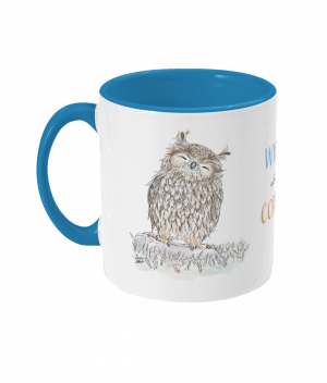 Wiser With Coffee Two Tone Mug Light Blue Left side