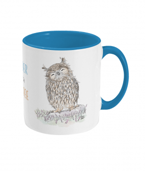 Wiser With Coffee Two Tone Mug Light Blue Right side