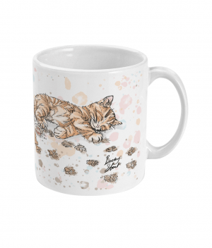 caffeine cat spotty mug right side