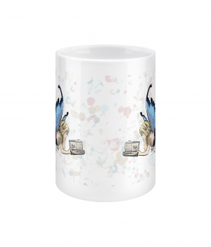 fairy reading spotty 15oz mug front