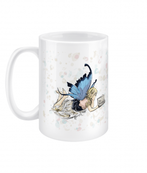 fairy reading spotty 15oz mug left side