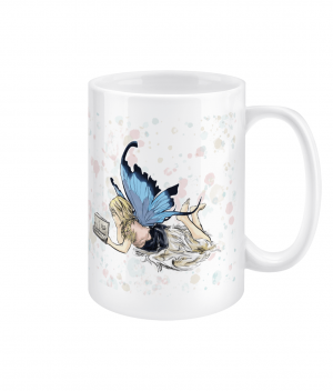 fairy reading spotty 15oz mug right side