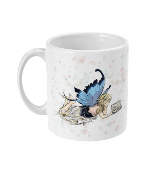 Fairy Reading Spotty Mug left side