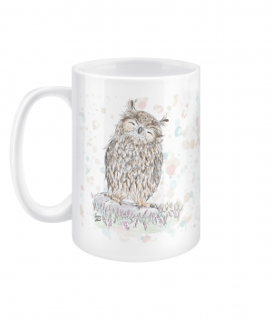 happy owl spotty 15oz mug left side