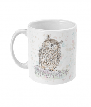 happy owl spotty mug left side