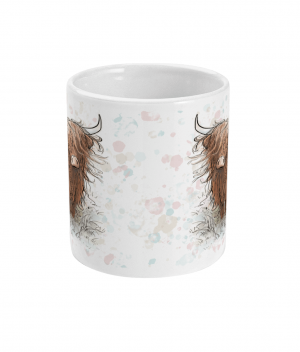 highland cow spotty mug front