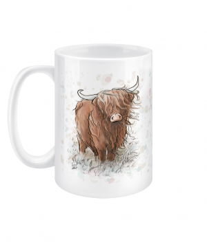 highland cow spotty 15oz mug left side