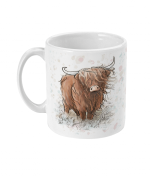 highland cow spotty mug left side