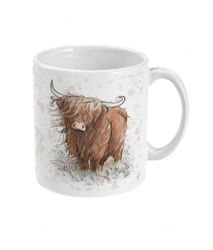 highland cow spotty mug right side
